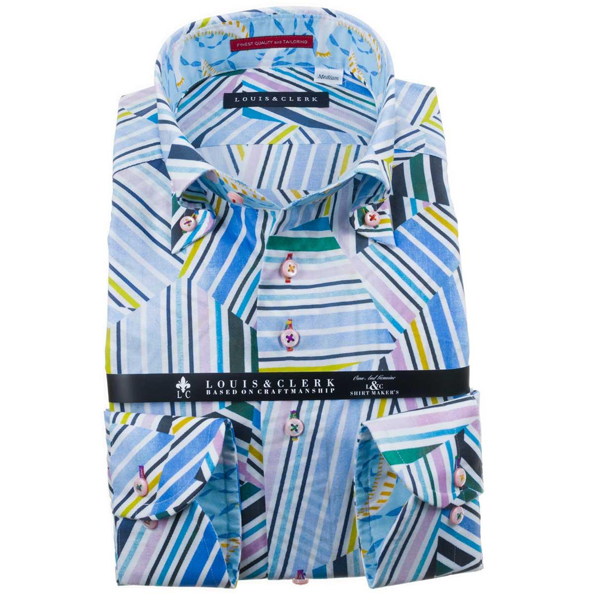 ドレスシャツ ワイシャツ シャツ メンズ 国産 長袖 純綿100% コンフォート ボタンダウン 縞柄×格子柄MIX幾何学柄プリント マルチカラー1911 fs3gm