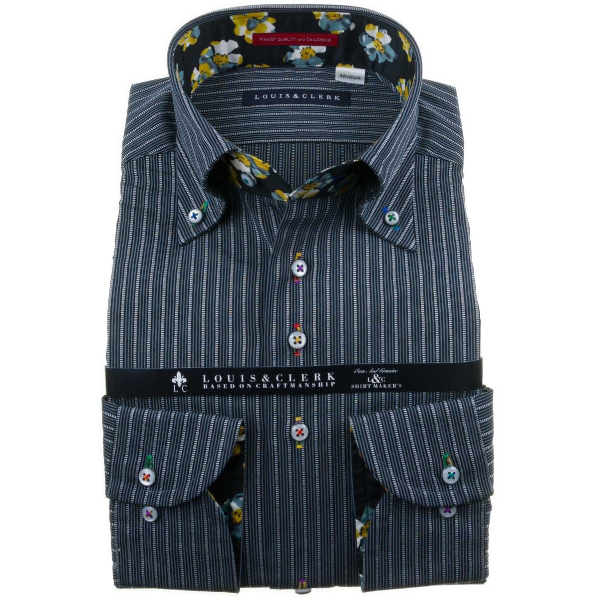 国産長袖純綿ドレスシャツ コンフォート ボタンダウン ブラック グレー ストライプ 1911メンズ fs3gm