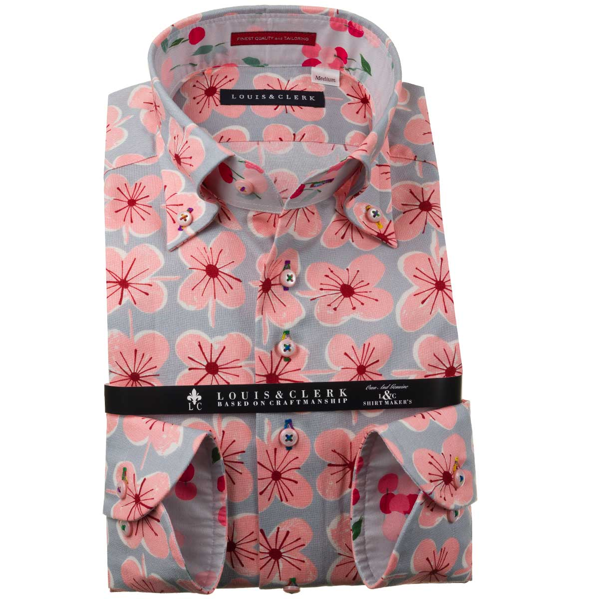 クローバーのような不思議な花柄シャツ ドレスシャツ ワイシャツ シャツ メンズ 国産 長袖 純綿100% グレー 価格 四弁花パターンプリント fs3gm 1910 爆買い送料無料 ボタンダウン コンフォート ピンク