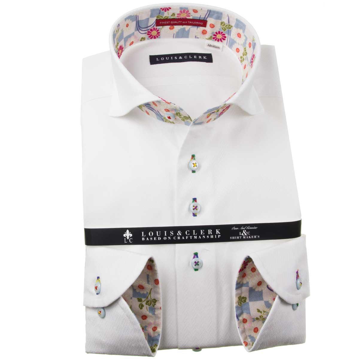 ドレスシャツ ワイシャツ シャツ メンズ 国産 長袖 純綿100% コンフォート カッタウェイワイド ホワイト ジャガード織ヘリンボーンストライプ 1910 fs3gm