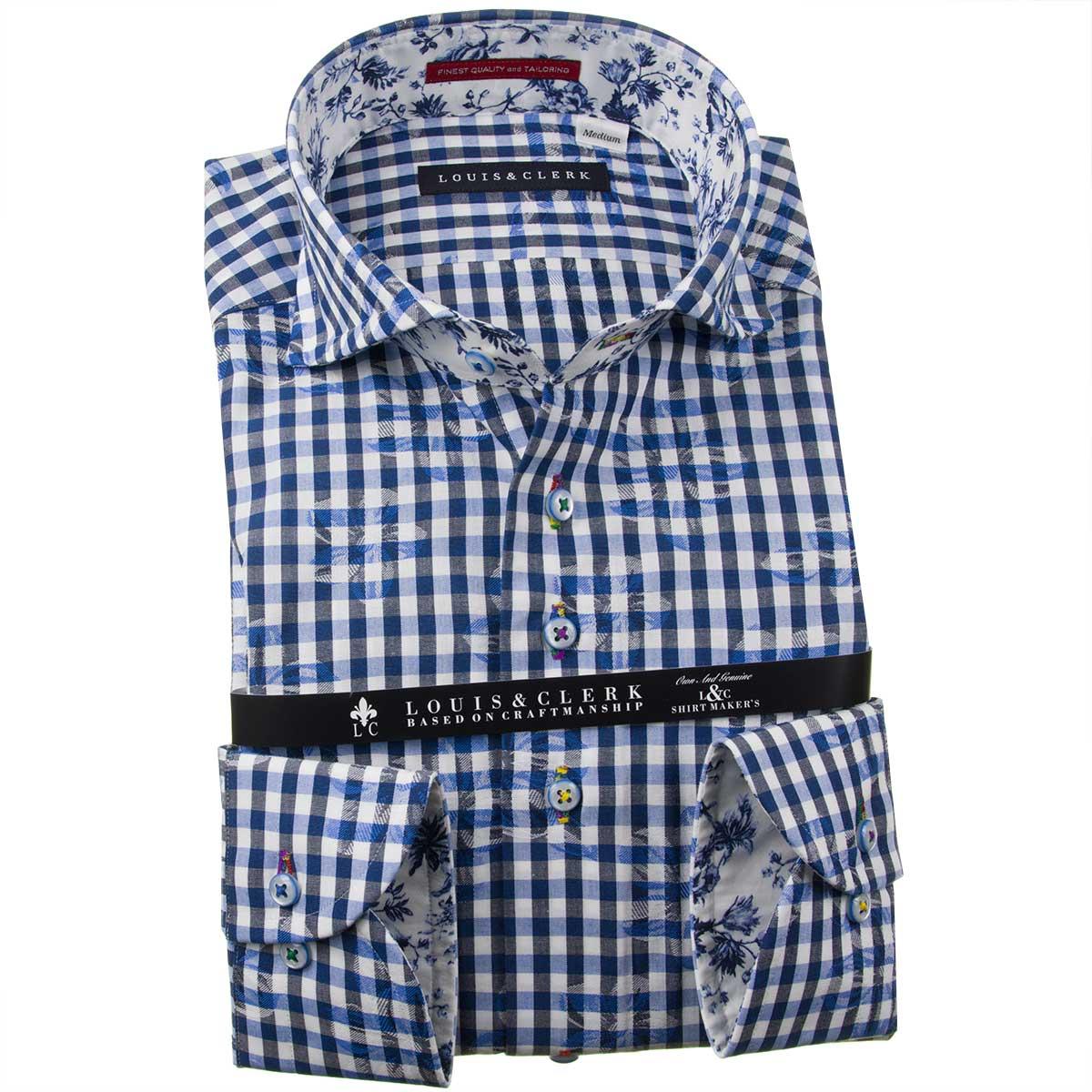 ドレスシャツ ワイシャツ シャツ メンズ 国産 長袖 純綿100% コンフォート カッタウェイワイド ギンガムチェック&フラワージャガード ホワイト ネイビー ブルー 1910 fs3gm