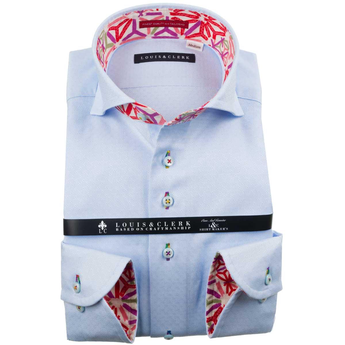 ドレスシャツ ワイシャツ シャツ メンズ 国産 長袖 純綿100% コンフォート カッタウェイワイド スカイブルー ジャガードデザインダイアチェック 1910 fs3gm