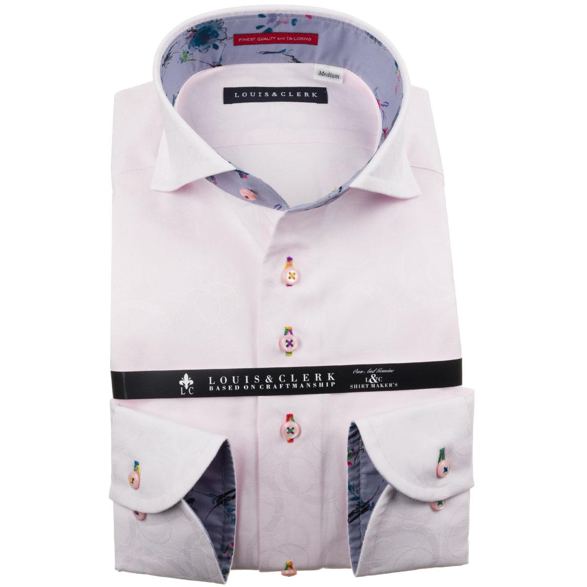 ドレスシャツ ワイシャツ シャツ メンズ 国産 長袖 純綿100% コンフォート カッタウェイワイド ライトピンク ジャガード織シャボン玉柄 1910 fs3gm