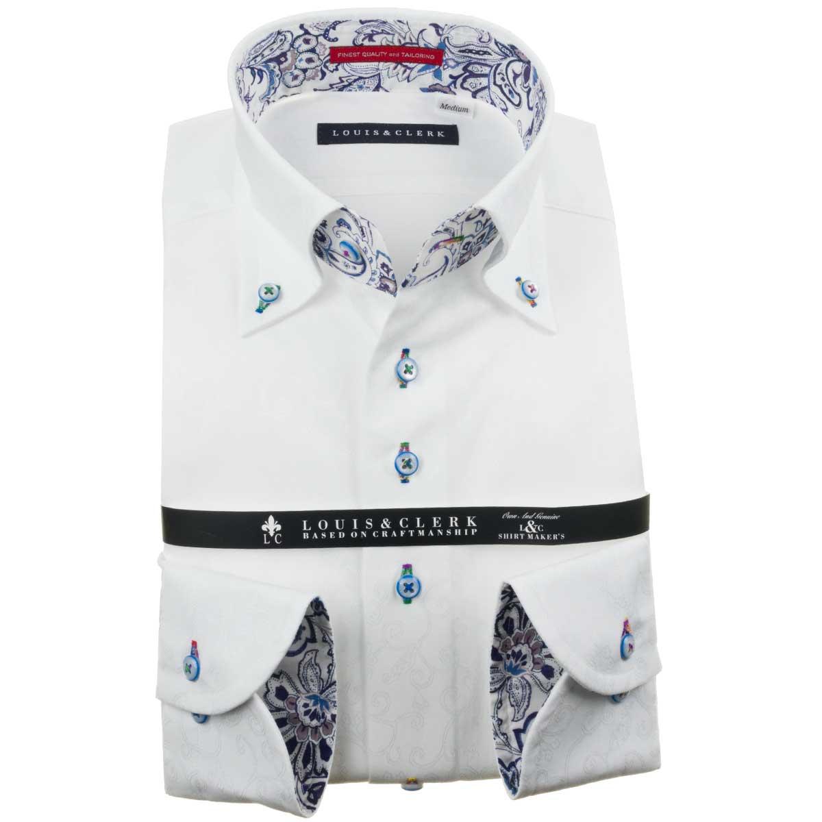 ドレスシャツ ワイシャツ シャツ メンズ 国産 長袖 綿100% コンフォート ボタンダウン 白 ホワイト ジャガード織柄 花葉蔦 1910 fs3gm