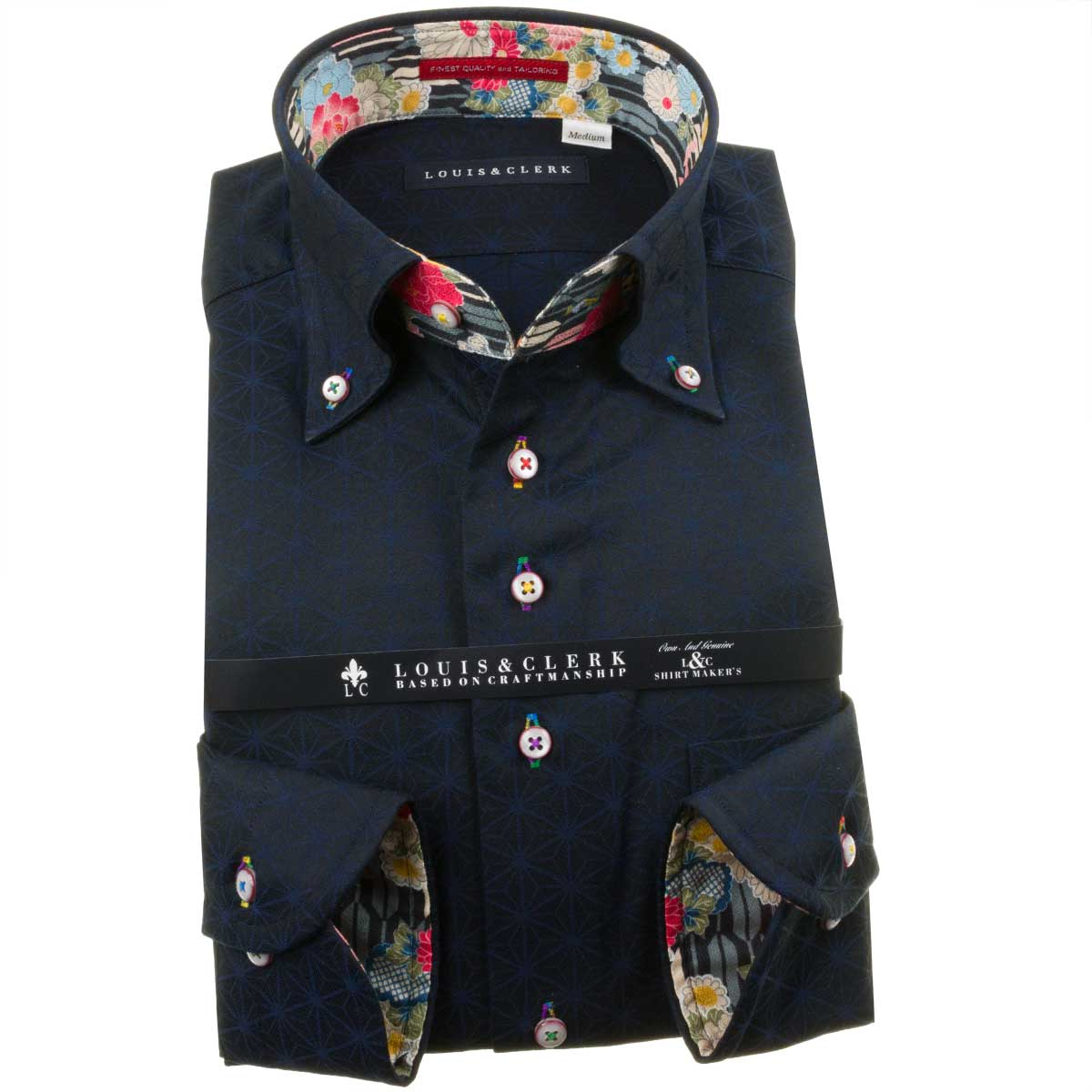 日本製 国産 上質なドレスシャツ 和 をモチーフとした濃色シャツ LouisClerk ルイス クラーク ドレスシャツRHD196-009 ドレスシャツ ワイシャツ メンズ コンフォート 1910 全国どこでも送料無料 fs3gm ダークネイビー シャツ 2109de ボタンダウン 長袖 綿100% ジャガード麻葉柄