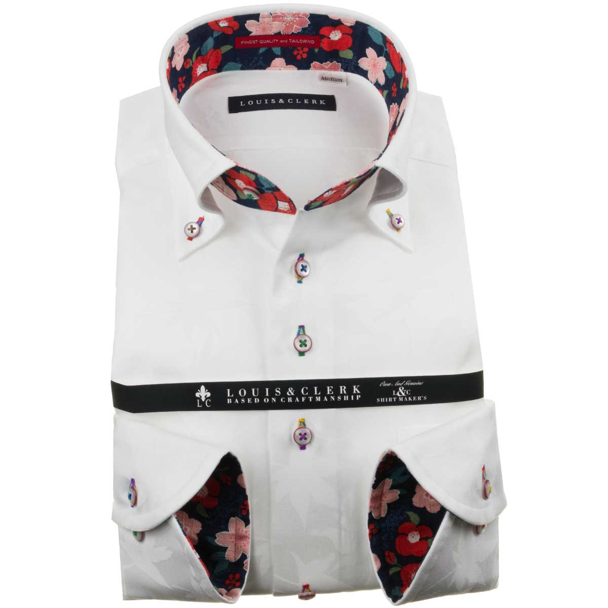 国産長袖純綿ドレスシャツ コンフォート ボタンダウンカラー ホワイト ジャガード織柄 紅葉 もみじ メイプルメンズ fs3gm