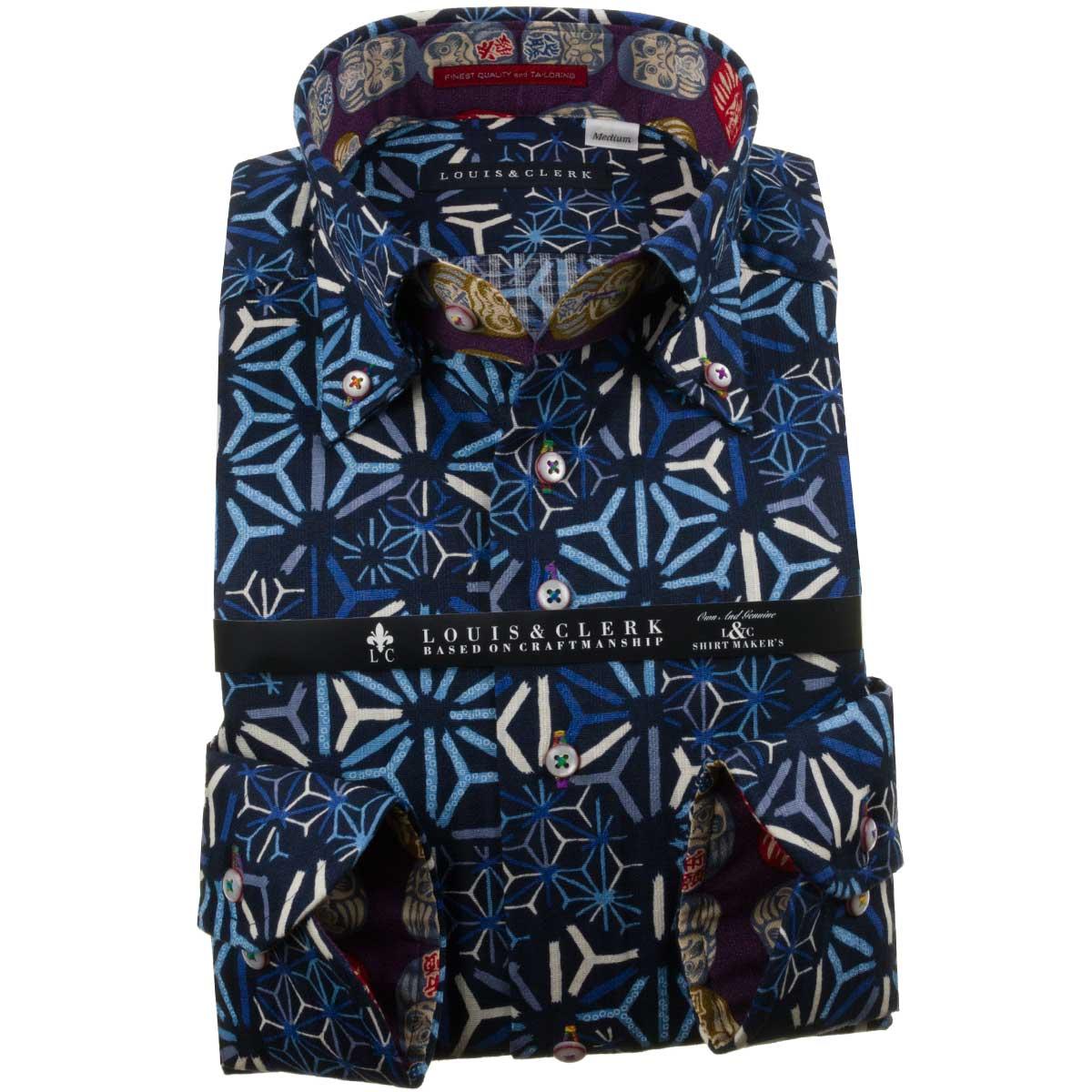 ドレスシャツ ワイシャツ シャツ メンズ 国産 長袖 純綿100% コンフォート ボタンダウン ドビー プリント 麻葉柄 ネイビー 紺 青 ブルー 1910 fs3gm