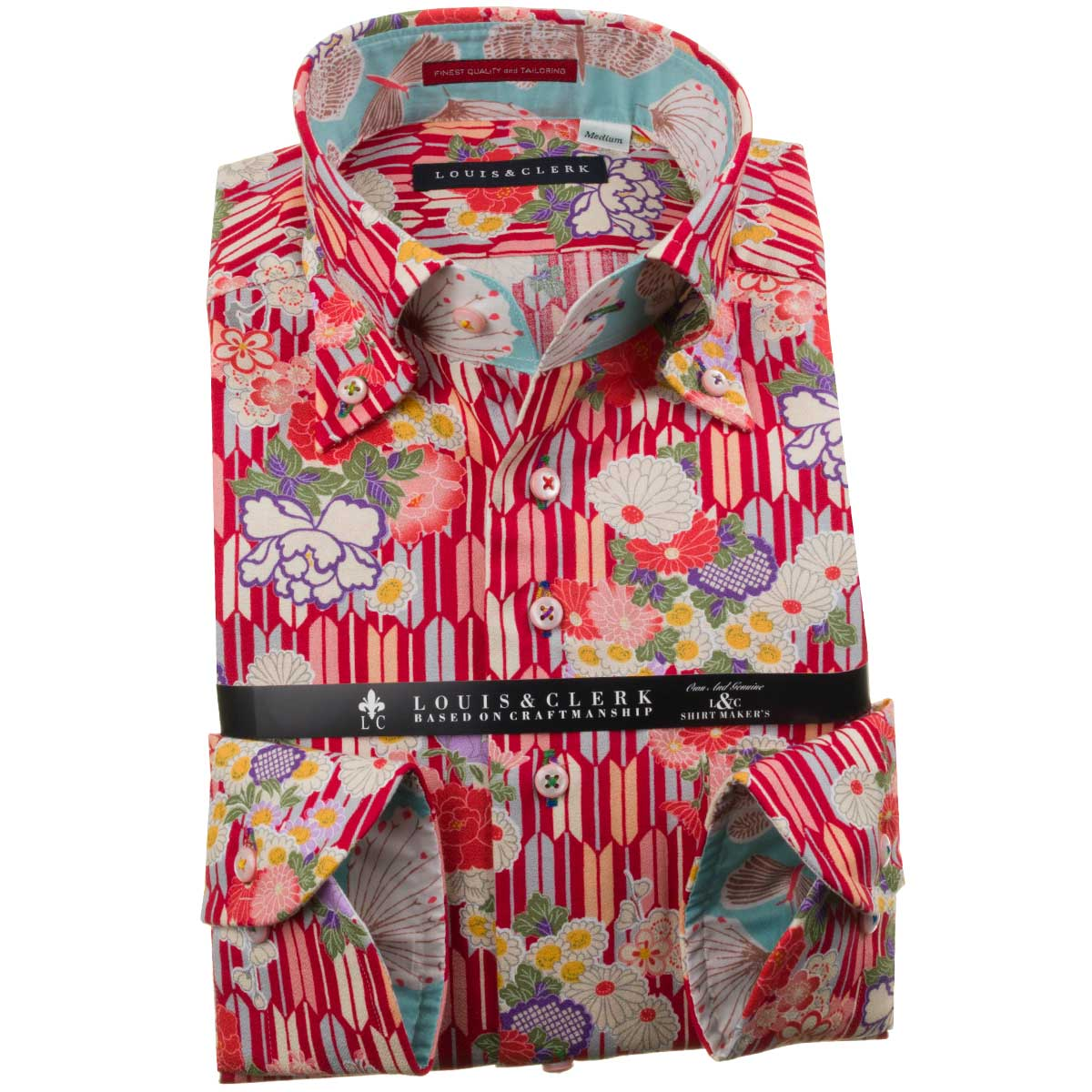 国産長袖純綿ドレスシャツ コンフォート ボタンダウン ちりめん 縮緬 赤 プリント 矢絣 やがすり 矢羽 菊 1910メンズ fs3gm