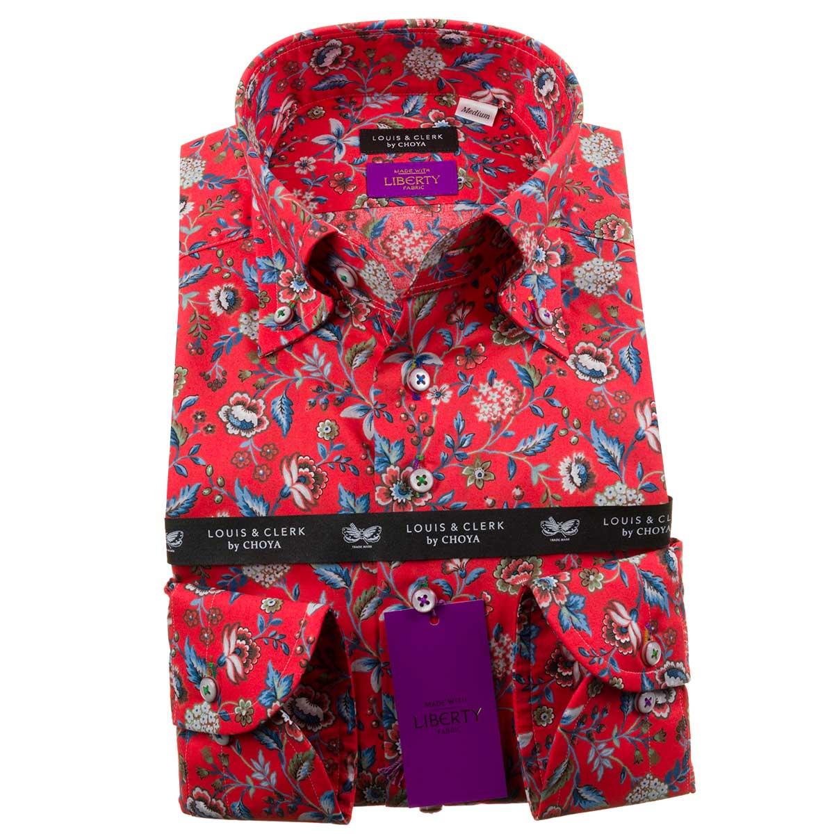 オリエンタルな雰囲気のフラワーデザイン リバティプリント ドレスシャツ ワイシャツ シャツ 年間定番 メンズ 国産 長袖 2109_rld OUTLETS コンフォート fs3gm ボタンダウン マッサード NEW ARRIVAL 綿100%