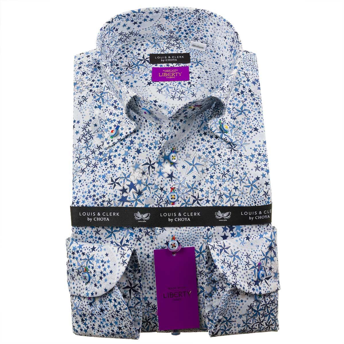 LLサイズ 珍しい星モチーフ リバティプリント タナローン ドレスシャツ ワイシャツ シャツ メンズ 国産 OUTLETS 綿100% コンフォート 長袖 ボタンダウン 価格 fs3gm アデラジャ 高価値 2109_rld