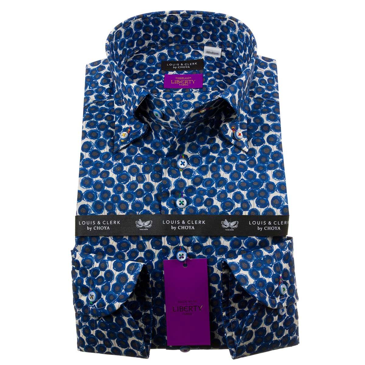 リバティプリント タナローン 国産長袖綿100%ドレスシャツ コンフォート ボタンダウン ザンジー・サンビーム メンズ fs3gm