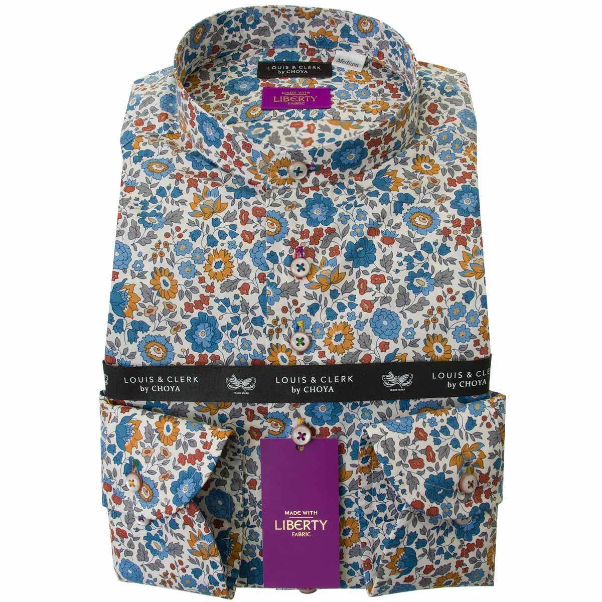 リバティプリント タナローン ドレスシャツ ワイシャツ シャツ メンズ 国産 長袖 綿100% コンフォート スタンドカラー ボタニカル