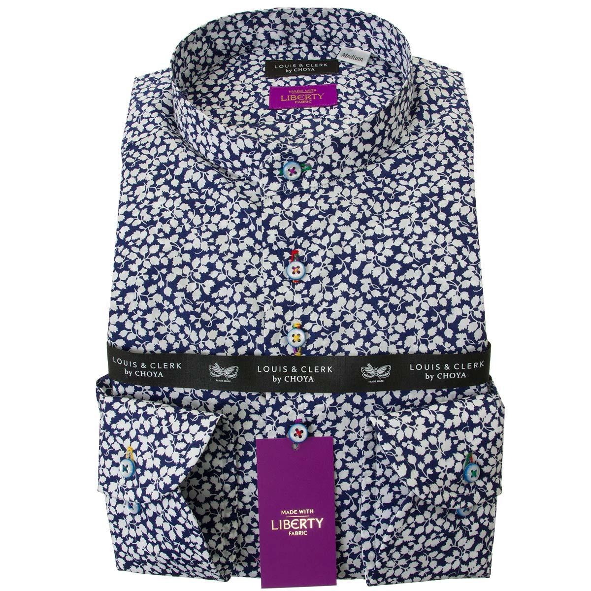 リバティプリント タナローン ドレスシャツ ワイシャツ シャツ メンズ 国産 長袖 綿100% コンフォート スタンドカラー グレンジェイド タナローン