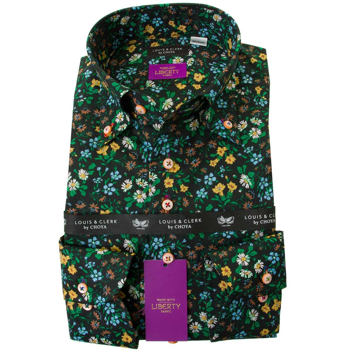 Mサイズ Lサイズ 黄色と緑が黒地に栄える ドレスシャツ ワイシャツ シャツ メンズ リバティプリント 国産 綿100% 数量限定 マリア ボタンダウン タナローン 2109_rld Seasonal Wrap入荷 コンフォート 2001 OUTLETS 長袖