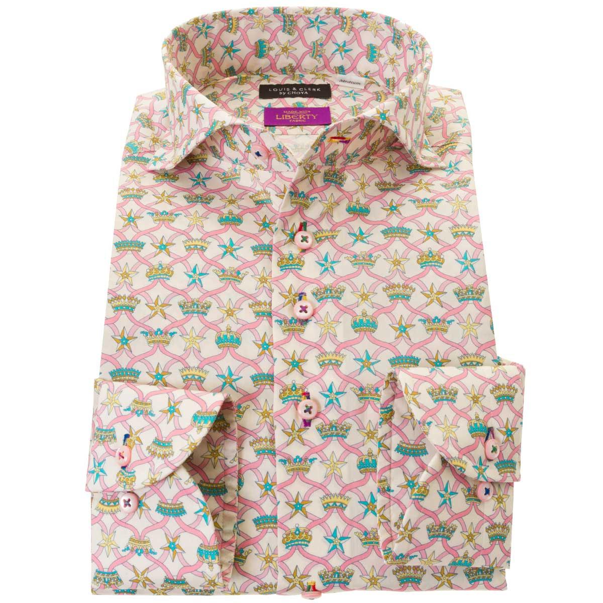 ドレスシャツ ワイシャツ シャツ メンズ リバティプリント 国産 長袖 コンフォート カッタウェイワイド 胸ポケット無 ウィンザー・リボン タナローン