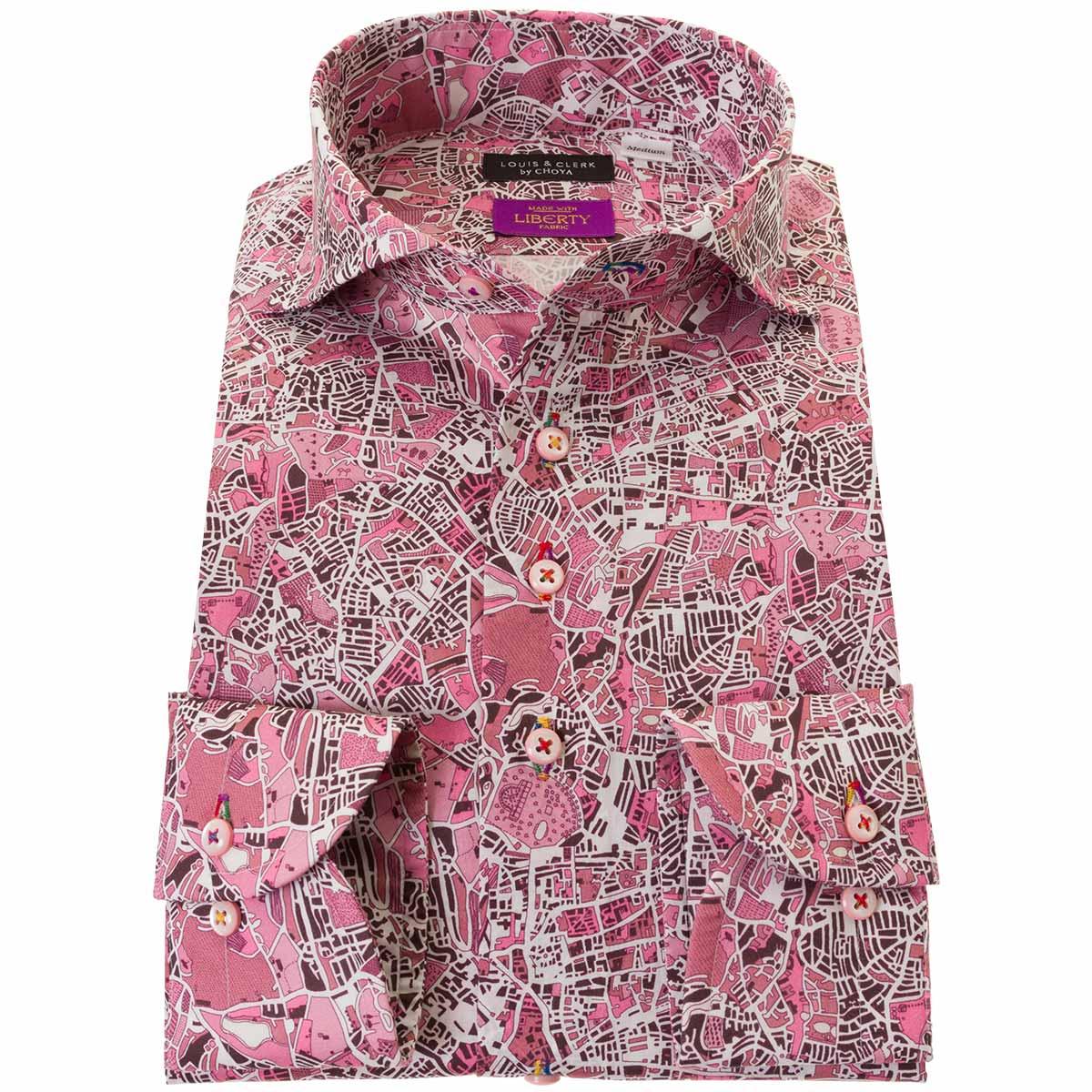 ドレスシャツ ワイシャツ シャツ メンズ リバティプリント 国産 長袖 コンフォート カッタウェイワイド 胸ポケット無 ロンドン・フィールズ タナローン