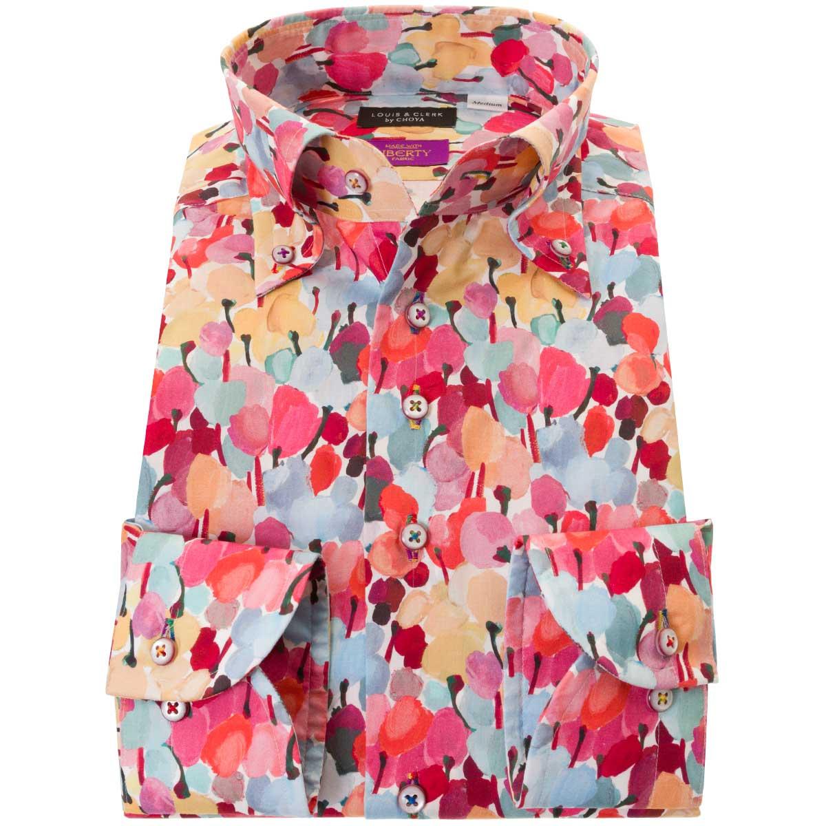 ドレスシャツ ワイシャツ シャツ メンズ リバティプリント 国産 長袖 コンフォート ボタンダウン 胸ポケット無 チューリップ・フィールズ タナローン