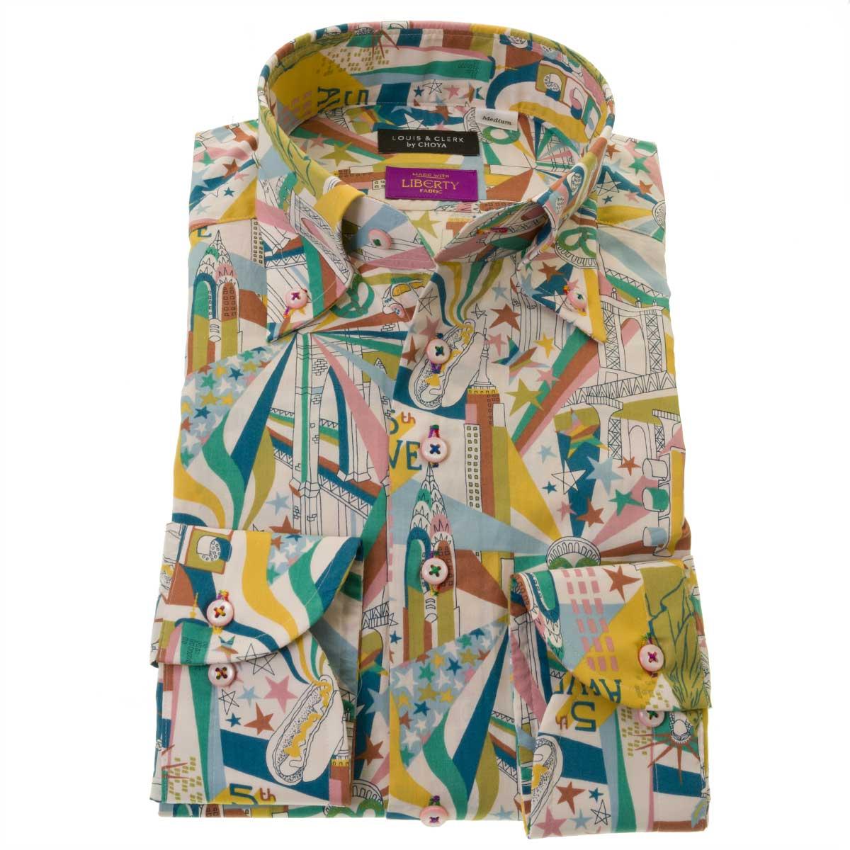 即納 シャツを着ていると旅行気分 リバティプリント タナローン 国産長袖綿100%ドレスシャツ コンフォート ボタンダウン 胸ポケット無 マンハッタン 2109_rld 新作続 OUTLETS リバティトラベルズ メンズ