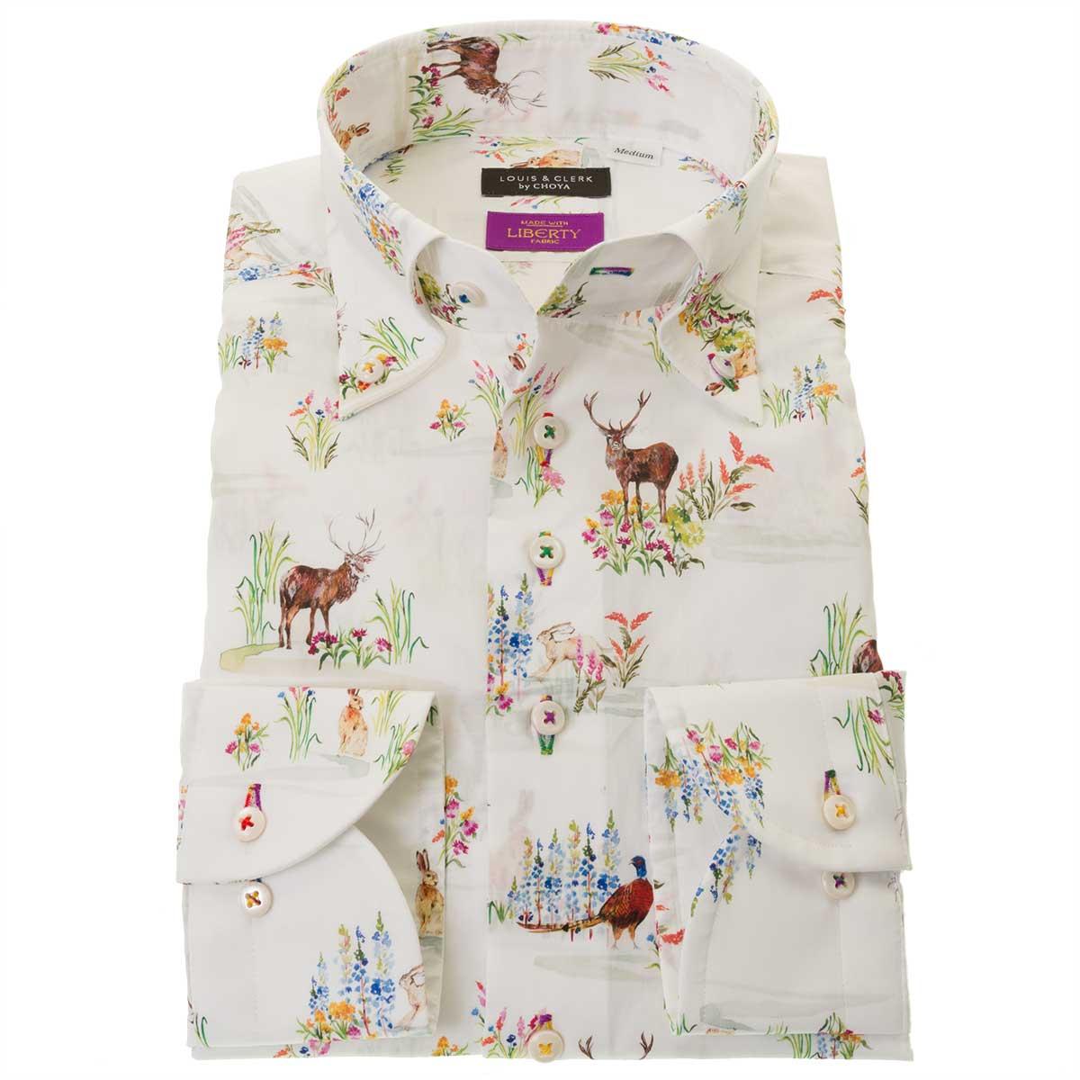 シャツを着ていると旅行気分 買い取り リバティプリント タナローン 国産長袖綿100%ドレスシャツ コンフォート ボタンダウン 胸ポケット無 リバティトラベル ハイランドメドゥ 2109_rld ついに再販開始 ホワイト OUTLETS メンズ