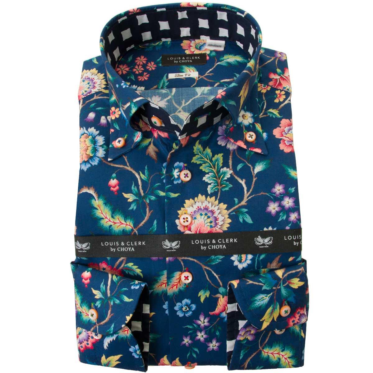 希少 初登場 リバティプリントスリムフィットシャツ ドレスシャツ ワイシャツ シャツ メンズ リバティプリント 国産 長袖 綿100% SALE 2109_rld タナローン スリムフィット エヴァ ベル ボタンダウン OUTLETS