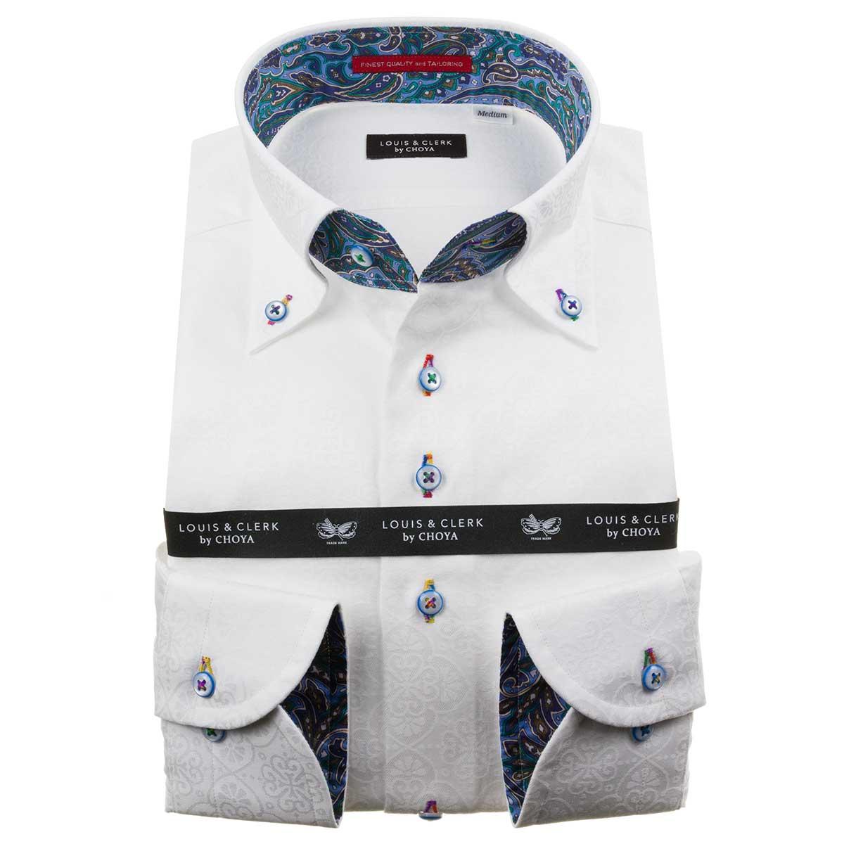 ドレスシャツ ワイシャツ シャツ メンズ 国産 長袖 純綿100% コンフォート ボタンダウン ホワイト ジャガード織 オリエンタルフラワーパターン 1911 fs3gm