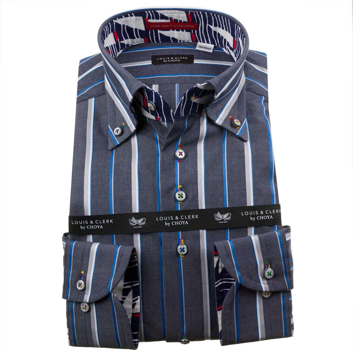 ドレスシャツ ワイシャツ シャツ メンズ 国産 長袖 綿100% コンフォート ボタンダウン グレーネイビー シックシンストライプ 1911 fs3gm