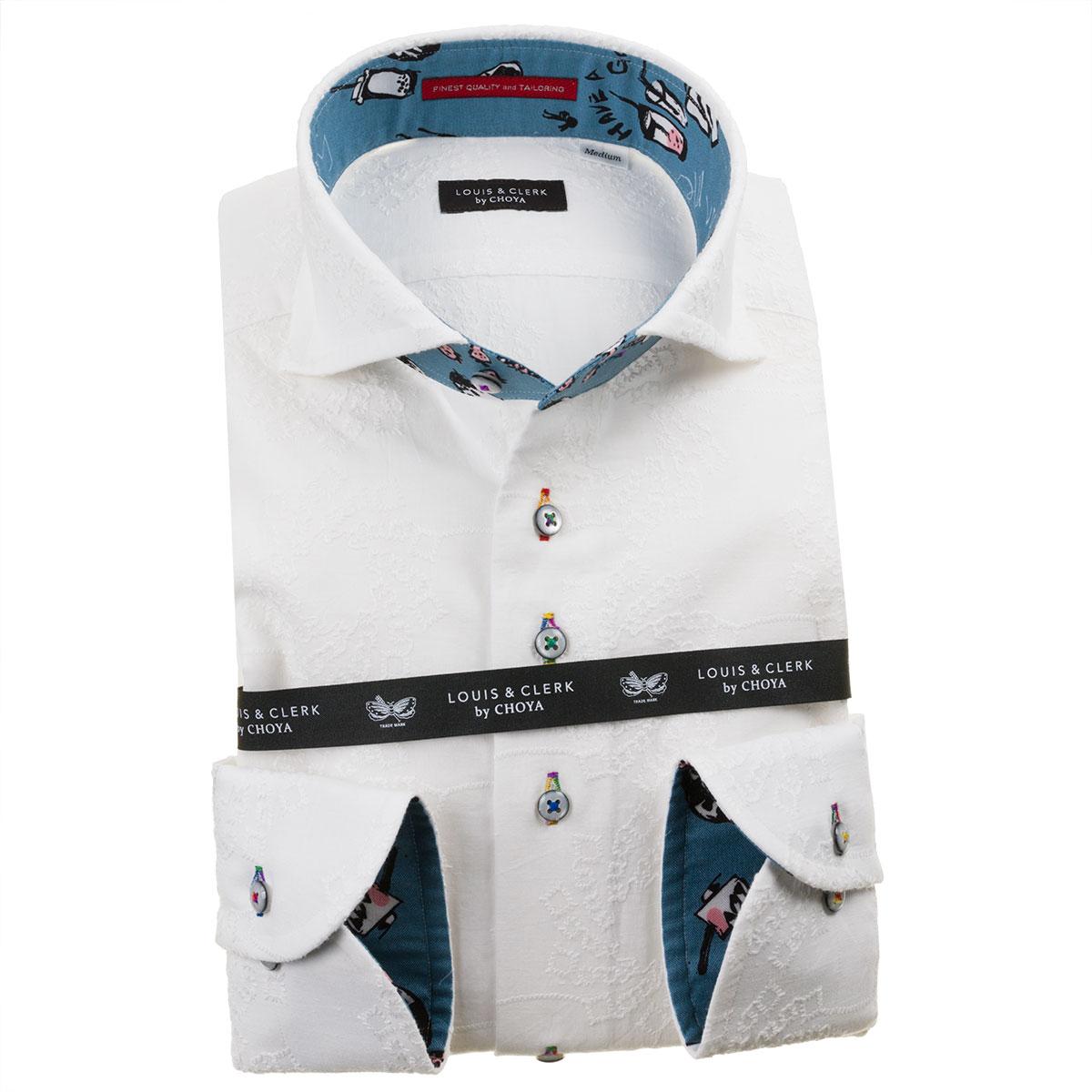ドレスシャツ ワイシャツ シャツ メンズ 国産 長袖 綿100% コンフォート カッタウェイワイド ホワイト 刺繍生地 花 太陽 渦 1912