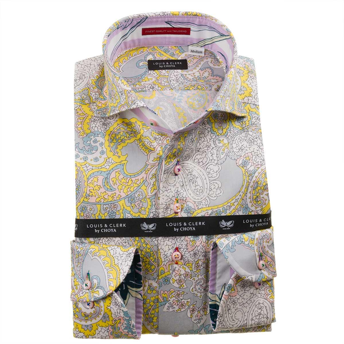 ドレスシャツ ワイシャツ シャツ メンズ 国産 長袖 綿100% コンフォート カッタウェイワイド ペイズリー総柄プリント イエロー ホワイト グレー 1912