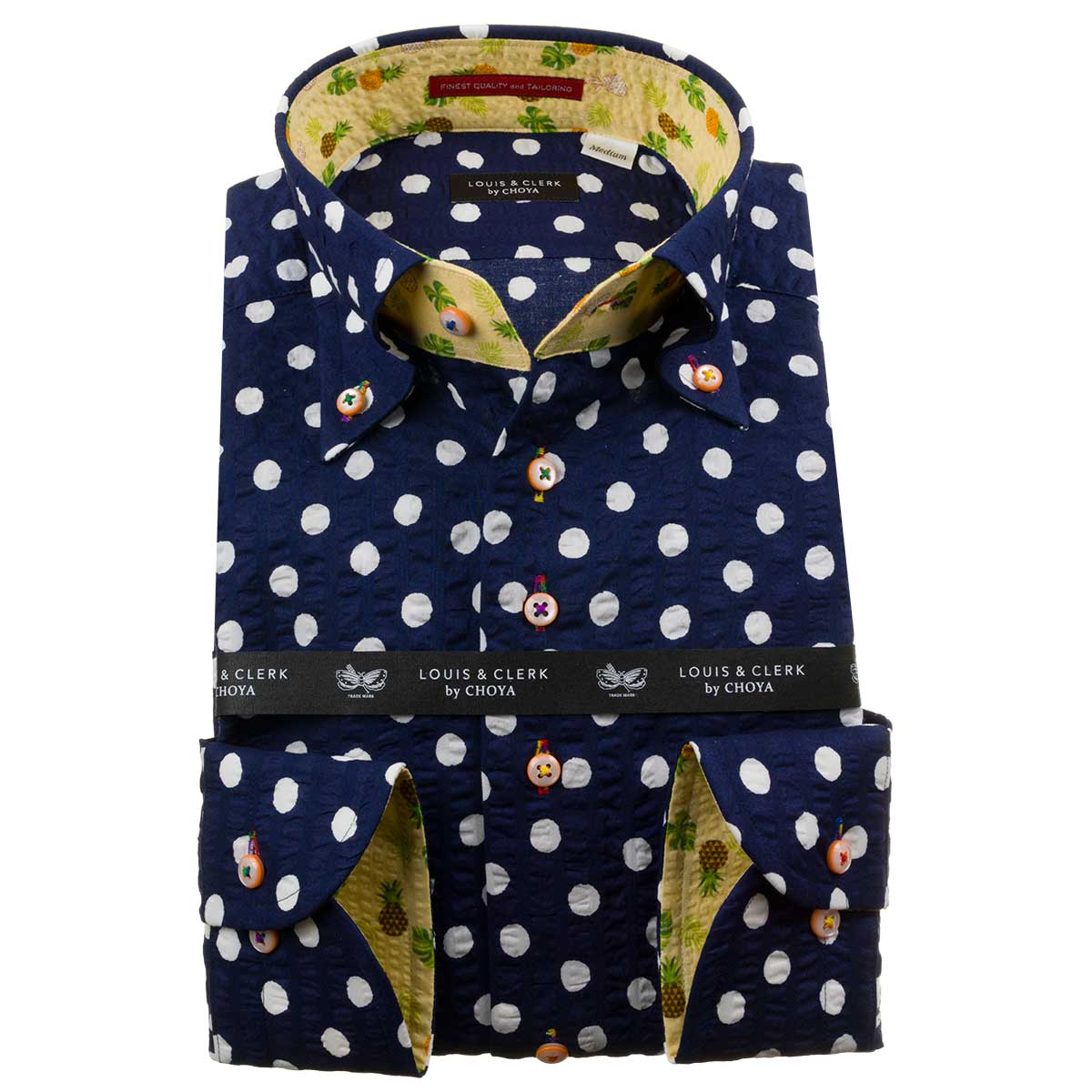 ドレスシャツ ワイシャツ シャツ メンズ 国産 長袖 純綿100% ボタンダウン ネイビーシアサッカーストライプ・水玉プリント 1911 fs3gm