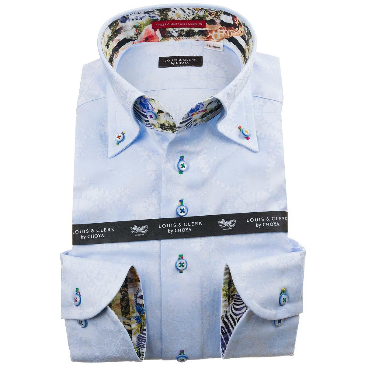 ドレスシャツ ワイシャツ シャツ メンズ 国産 長袖 綿100% コンフォート ボタンダウン スカイブルー ジャガード織柄 歯車機械 ギアパーツ 1912