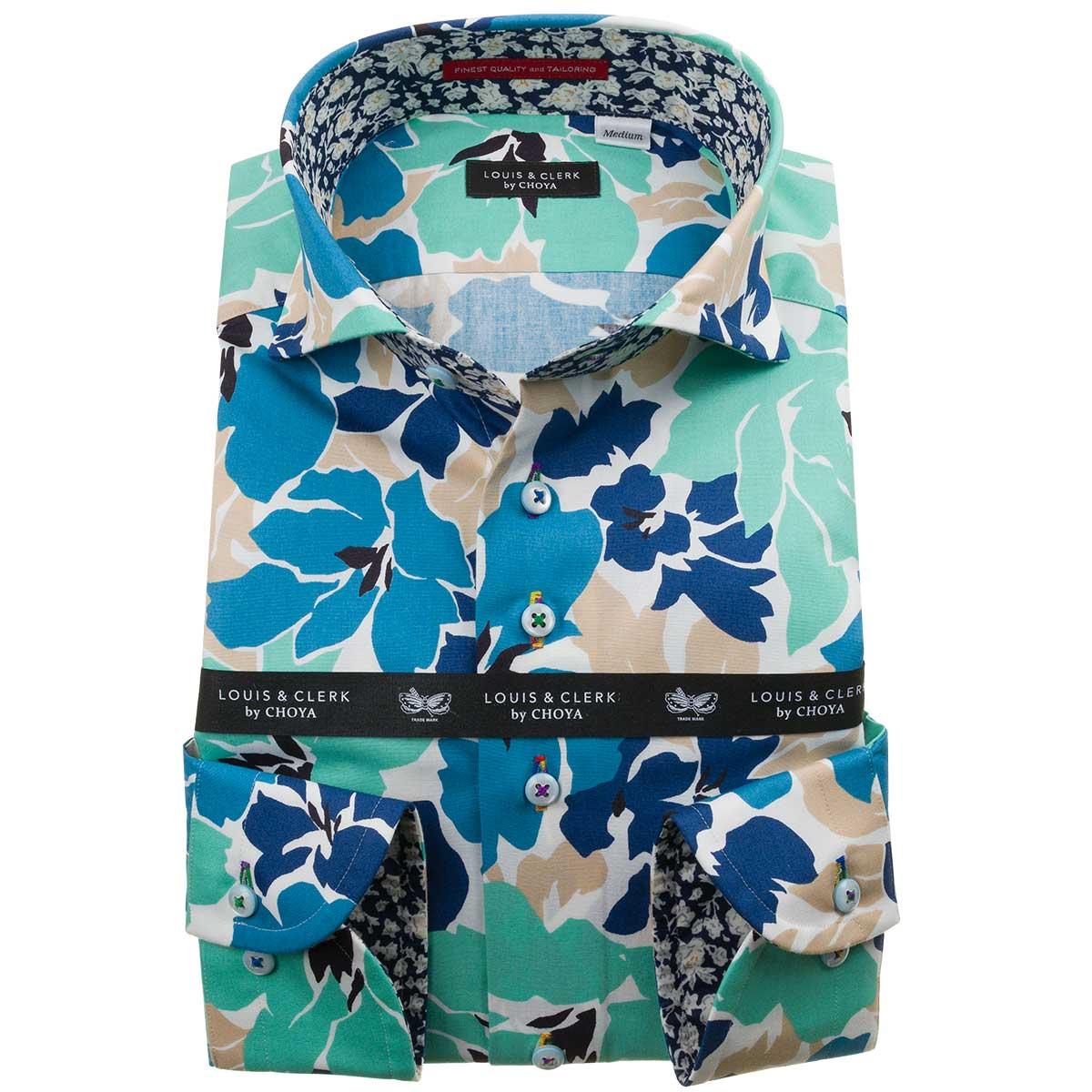 ドレスシャツ ワイシャツ シャツ メンズ 国産 長袖 綿100% コンフォート カッタウェイワイド デザインハイビスカスプリント エメラルドグリーン ブルー ベージュ 1912