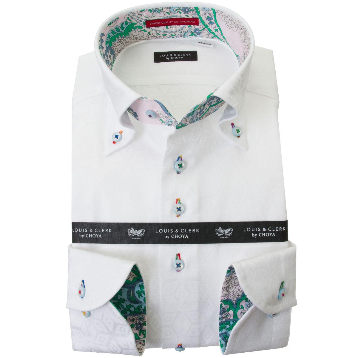 国産長袖綿100%ドレスシャツ コンフォート ボタンダウン ホワイト ジャガード織 キューブ 六芒星 幾何柄 2001メンズ