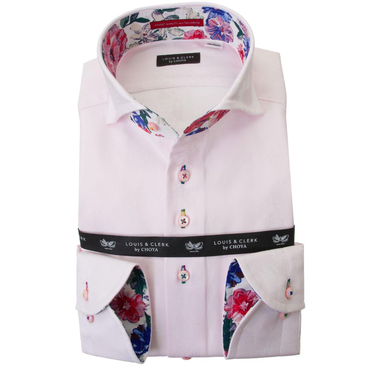 国産長袖綿100%ドレスシャツ  コンフォート カッタウェイワイド ライトピンク ジャガード織柄 花と蝶縞柄 2001 メンズ