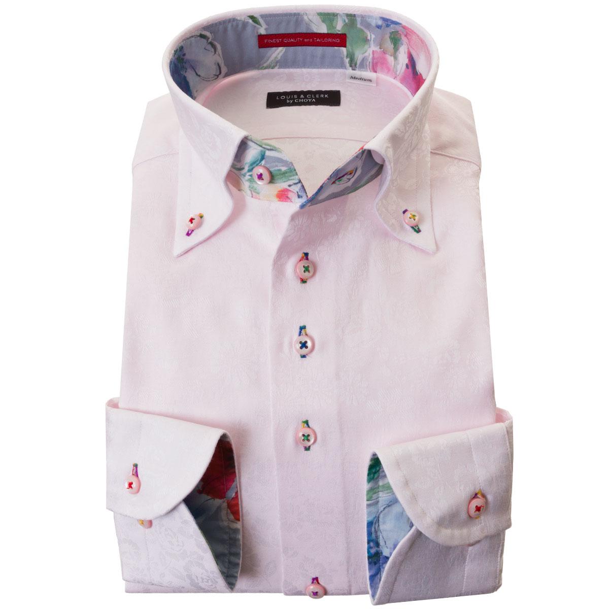 ドレスシャツ ワイシャツ シャツ メンズ 国産 長袖 綿100% コンフォート ボタンダウン ライトピンク ジャガード織 花柄 花壇 フラワーガーデン 胸ポケット無