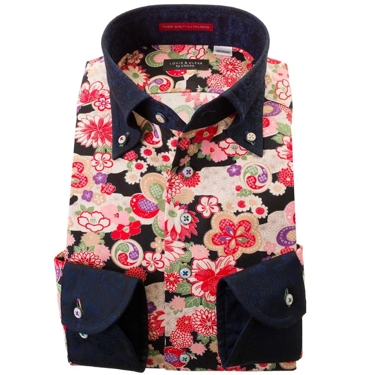 ドレスシャツ ワイシャツ シャツ メンズ 国産 長袖 ボタンダウン ちりめん 胸ポケット無 着丈短め 和柄生地プリント 着物 濃色生地クレリック