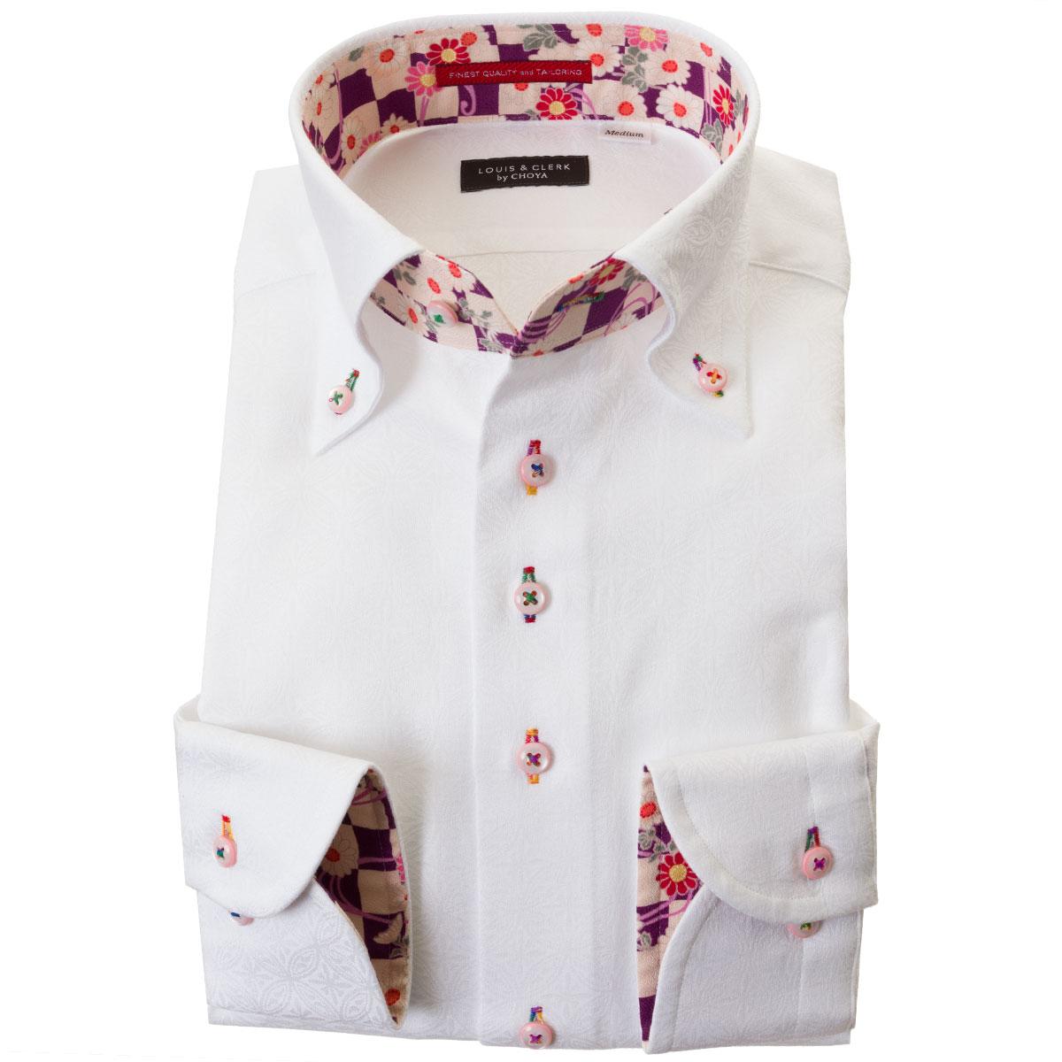 ドレスシャツ ワイシャツ シャツ メンズ 国産 長袖 綿100% 胸ポケット無 コンフォート ボタンダウン ホワイト ジャガード織柄 七宝繋ぎ 七宝文様 毬