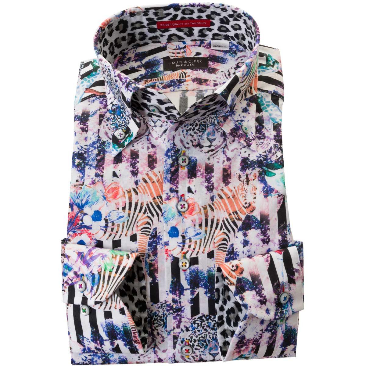 ドレスシャツ ワイシャツ シャツ メンズ 国産 長袖 ボタンダウン 着丈短め 胸ポケット無 コンフォート プリント ブロックストライプ 動物 アニマル 紫 緑