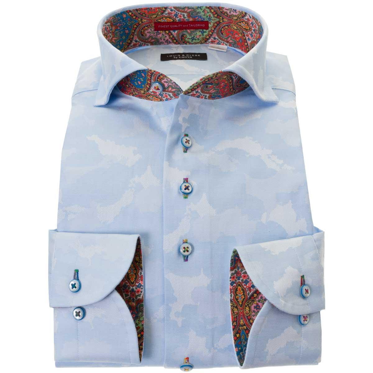 ドレスシャツ ワイシャツ シャツ メンズ 国産 長袖 綿100% ボタンダウン カッタウェイワイド 胸ポケット無 コンフォート スカイブルー ジャガード織柄 迷彩柄風 日本地図 マップ