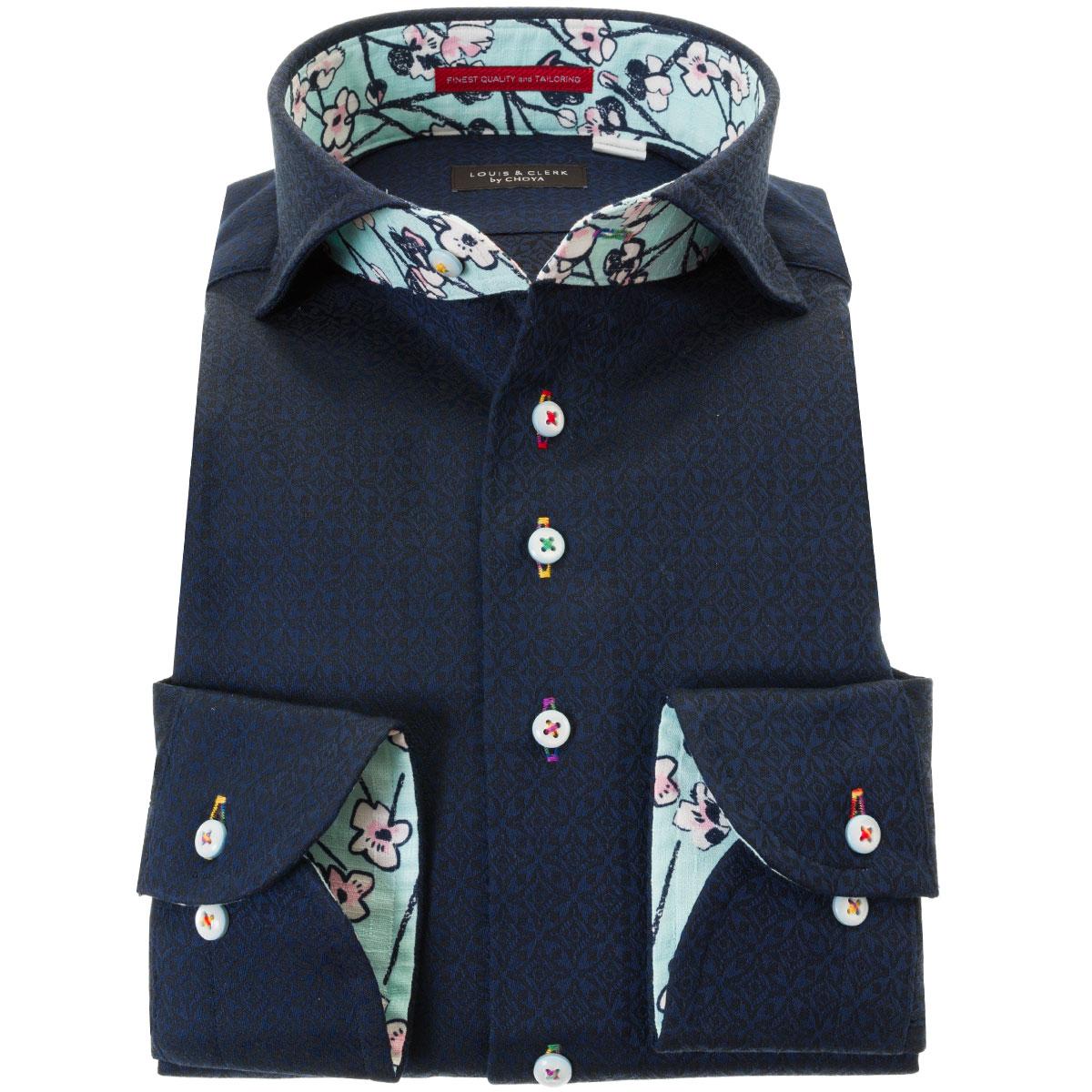 ドレスシャツ ワイシャツ シャツ メンズ 国産 長袖 綿100% コンフォート カッタウェイワイド 胸ポケット無 ダークネイビー ジャガード織柄 デザイン 七宝繋ぎ 七宝文様