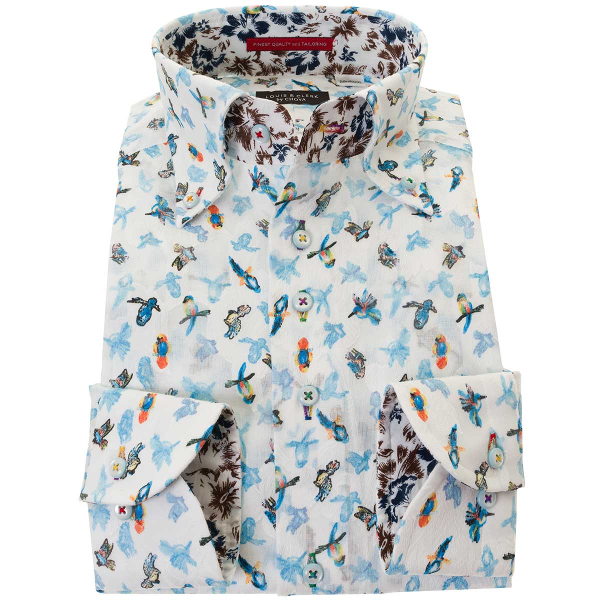 ドレスシャツ ワイシャツ シャツ メンズ 国産 長袖 綿100% コンフォート 胸ポケット無 着丈短め ボタンダウン ホワイト カットジャガードリーフ 鳥・バードプリント