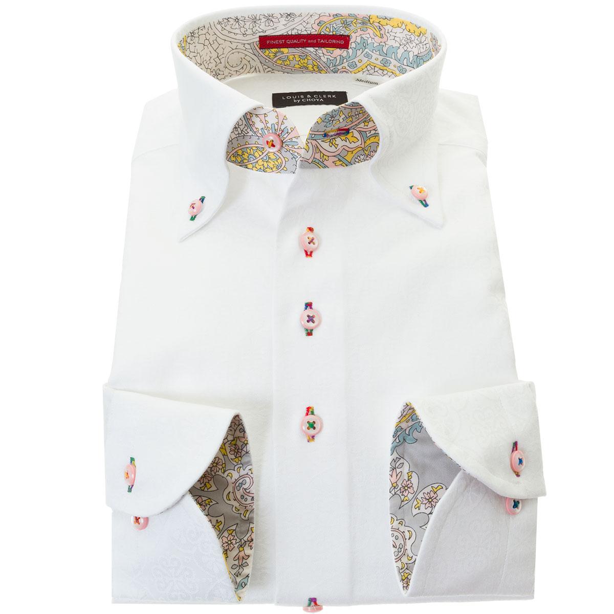 ドレスシャツ ワイシャツ シャツ メンズ 国産 長袖 綿100% コンフォート ボタンダウン 胸ポケット無 ホワイト ジャガード織 オリエンタルフラワーパターン