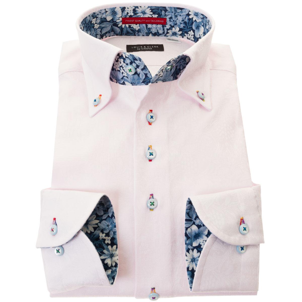 ドレスシャツ ワイシャツ シャツ メンズ 国産 長袖 綿100% 胸ポケット無 コンフォート ボタンダウン ライトピンク ジャガード織柄 ボタニカル 花柄 総柄