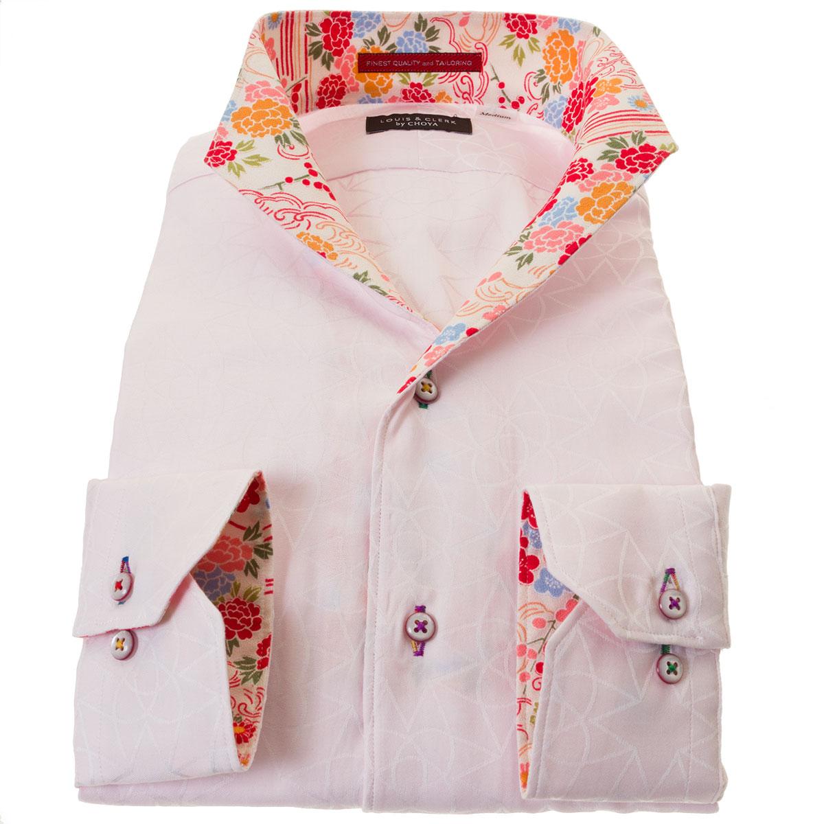 国産綿100%長袖ドレスシャツ コンフォート 胸ポケット無 イタリアンススキッパースタンド ピンク ジャガード織 幾何柄  メンズ