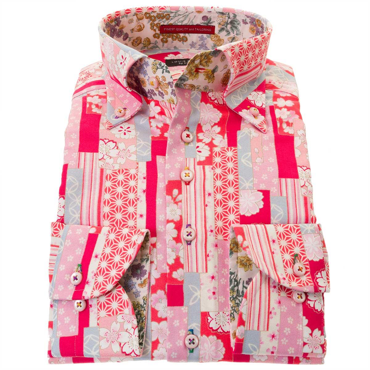 国産長袖綿100%ドレスシャツ コンフォート ボタンダウン 胸ポケット無 着丈短め ちりめん 縮緬 プリント 桜 ピンク 格子 麻葉柄 メンズ