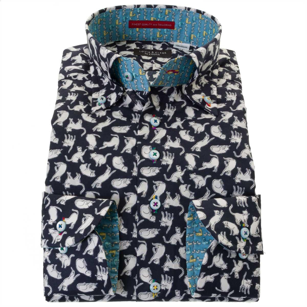 国産長袖ドレスシャツ 綿100% コンフォート ボタンダウンカラー 着丈短め ポプリン プリント 猫 キャット メンズ