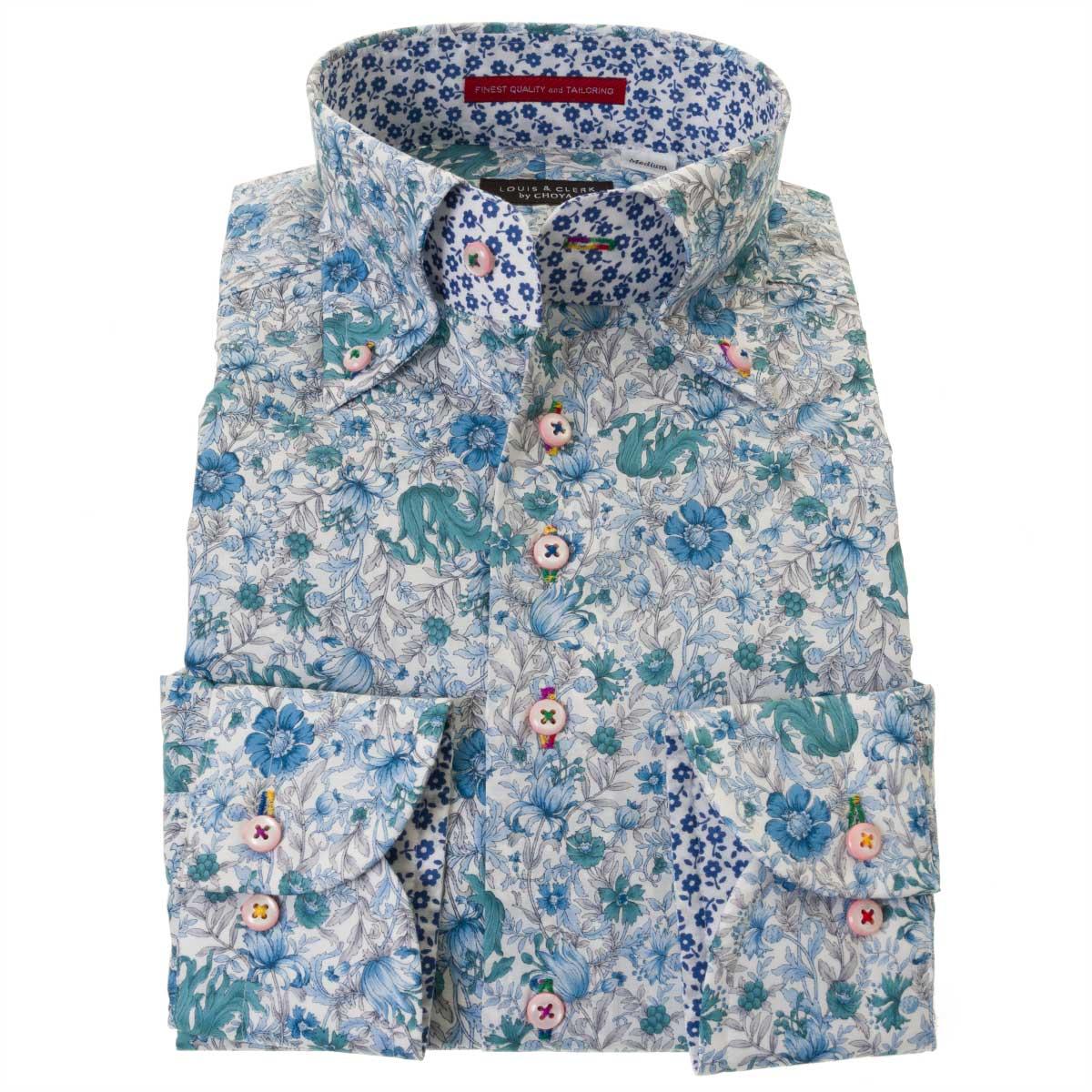 国産長袖ドレスシャツ 綿100% コンフォート ボタンダウンカラー 着丈短め ポプリン ブルー プリント フラワー ボタニカル  メンズ