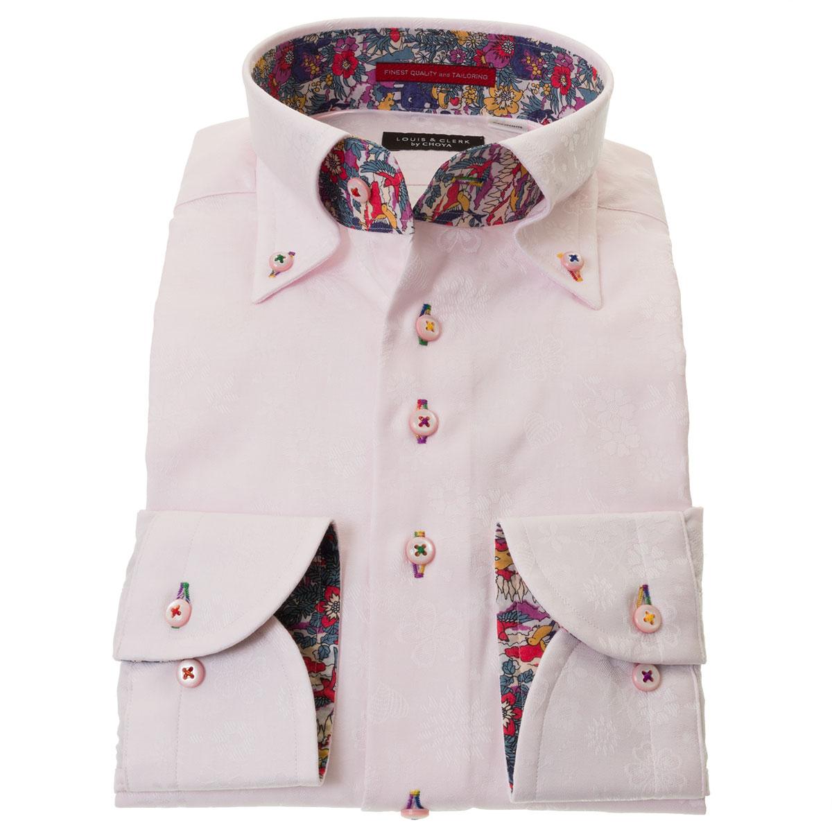 国産長袖ドレスシャツ ボタンダウン コンフォート 胸ポケット無 ピンク ジャガード フラワー ハート メンズ