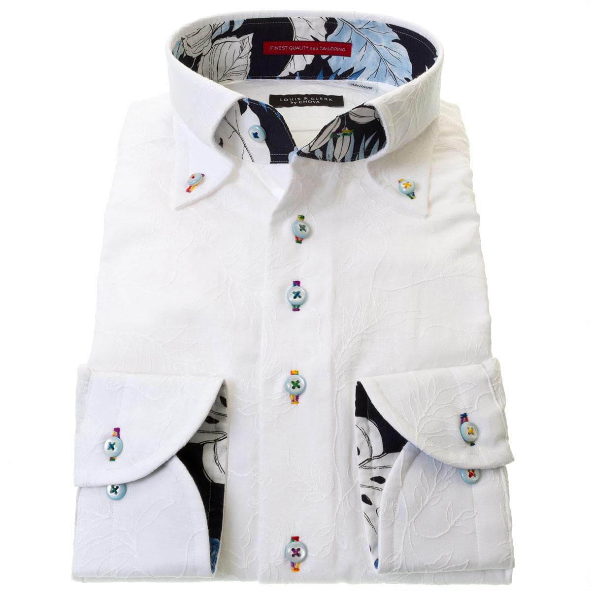国産長袖ドレスシャツ ボタンダウン コンフォート 着丈短め 白 ホワイト 刺し子 総花柄 メンズ