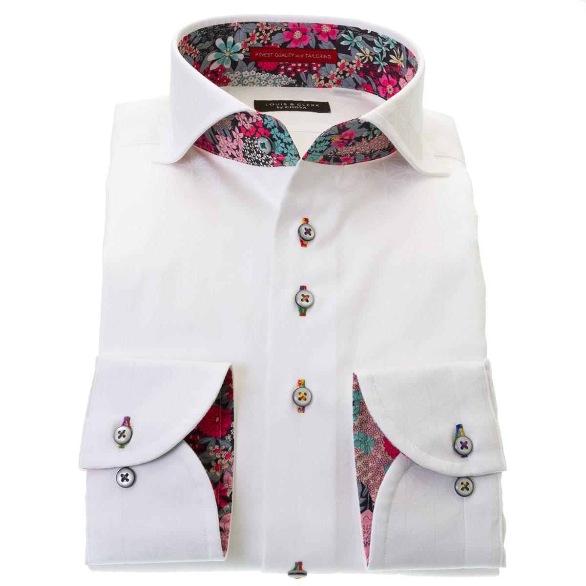国産長袖綿100%ドレスシャツ コンフォート カッタウェイワイド ホワイト 白 ジャガード織 麻葉柄 メンズ
