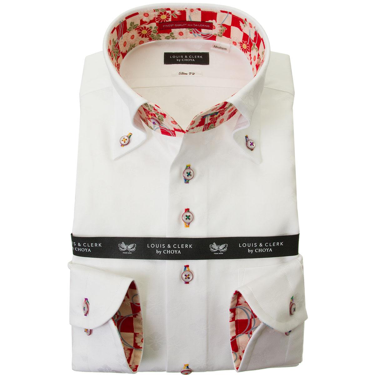 国産長袖綿100%ドレスシャツ  スリムフィット ボタンダウン ホワイト ジャガード織柄 家紋 花菱 2001メンズ